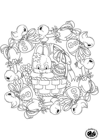 Раскраска Пасхальная мандала «Кролик, цыплята и яйца» скачать или распечатать