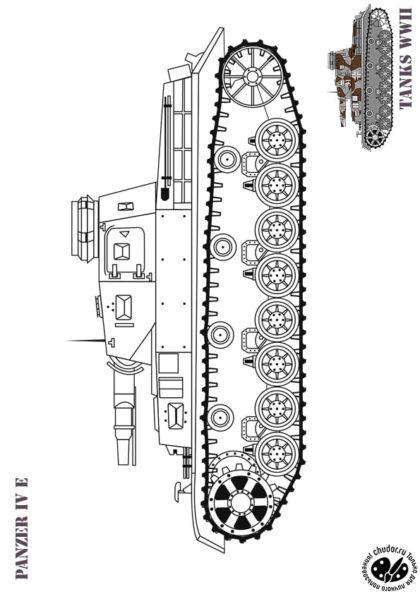 Раскраска Танк Германии PANZER IV E скачать или распечатать