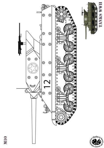 Раскраска САУ США M10 WOLVERINE скачать или распечатать