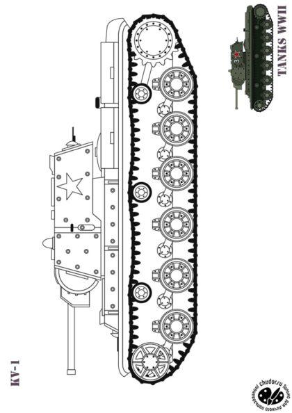 Раскраска Танк СССР KВ-1 скачать или распечатать
