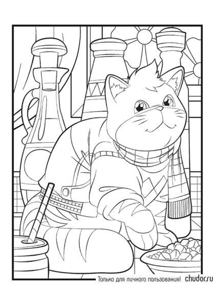 Раскраска Кот в посудной лавке скачать или распечатать