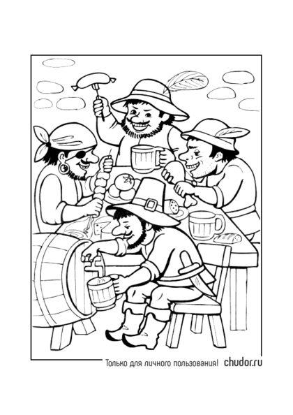 Раскраска Разбойники пируют скачать или распечатать